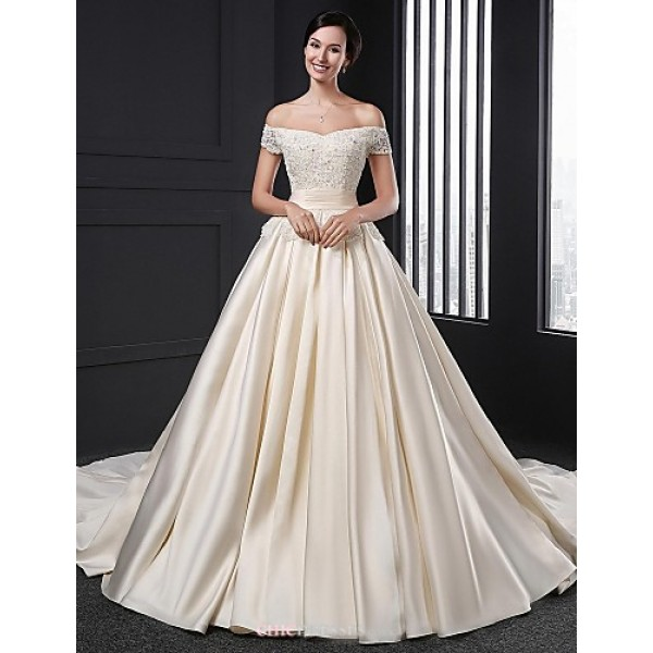 A-line Wedding Dress - Champagne Chapel Train Off-the-shoulder Satin Wedding Dresses