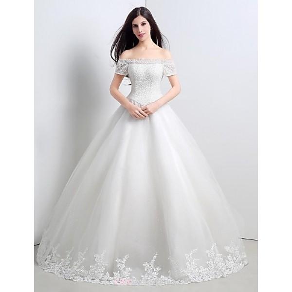 Princess Floor-length Wedding Dress -Strapless Tulle Wedding Dresses