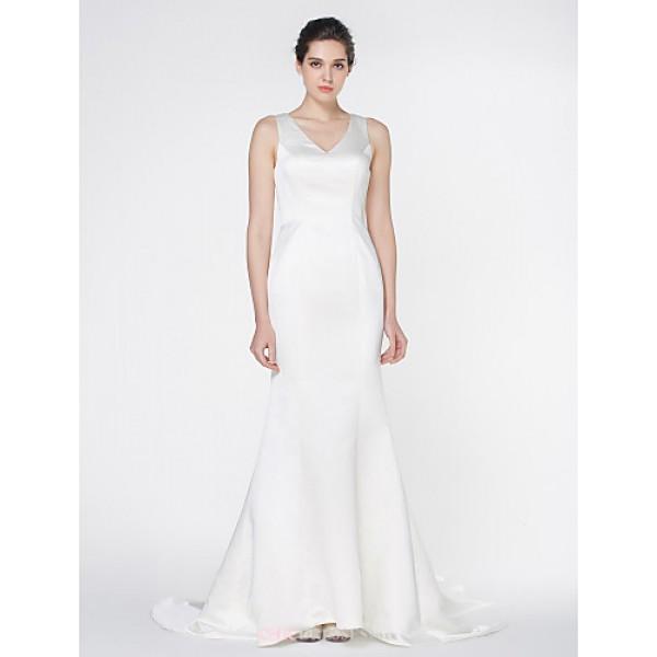 - Trumpet/Mermaid Wedding Dress - Ivory Court Train V-neck Satin Wedding Dresses