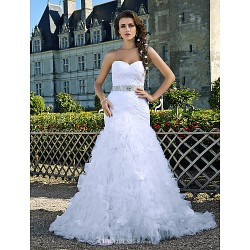 Trumpet/Mermaid Sweetheart Strapless Chapel Train Taffeta And Organza Wedding Dress