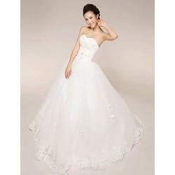 Princess Wedding Dress White Floor Length Strapless Lace Tulle