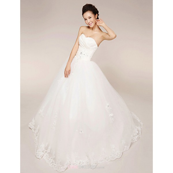 Princess Wedding Dress - White Floor-length Strapless Lace/Tulle Wedding Dresses