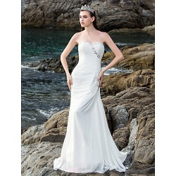 Sheath/Column Wedding Dress Sweep/Brush Train Sweetheart