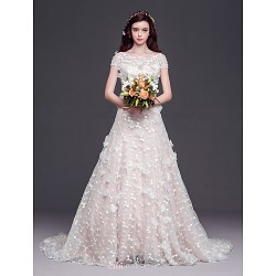 A Line,Princess Court Train Wedding Dress Scoop Tulle