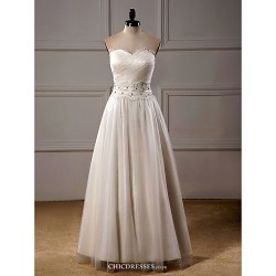A Line Wedding Dress Ivory Ankle Length Sweetheart Organza