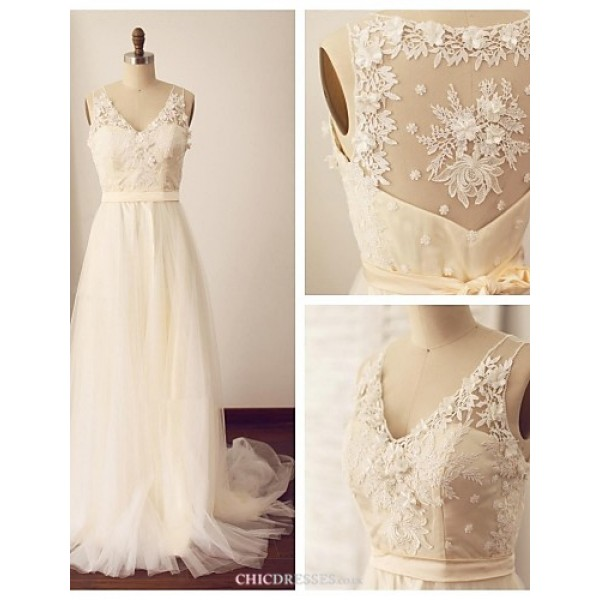 A-line Wedding Dress - Champagne Sweep/Brush Train V-neck Lace / Tulle Wedding Dresses