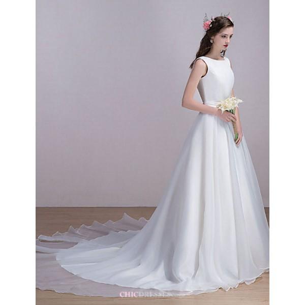 Wedding Dress Chapel Train Bateau Organza / Satin Wedding Dresses