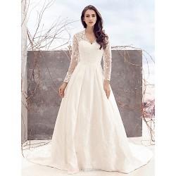 A-line Wedding Dress - Ivory Chapel Train V-neck Lace / Satin