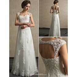 Sheath Column Sweetheart Floor Length Lace And Satin Wedding Dress