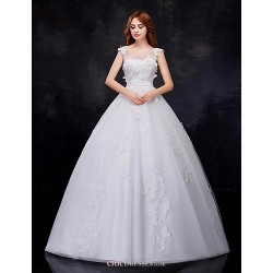 Ball Gown Wedding Dress - White Floor-length Scoop Organza
