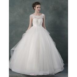 Ball Gown Wedding Dress White Floor Length Bateau Organza Satin
