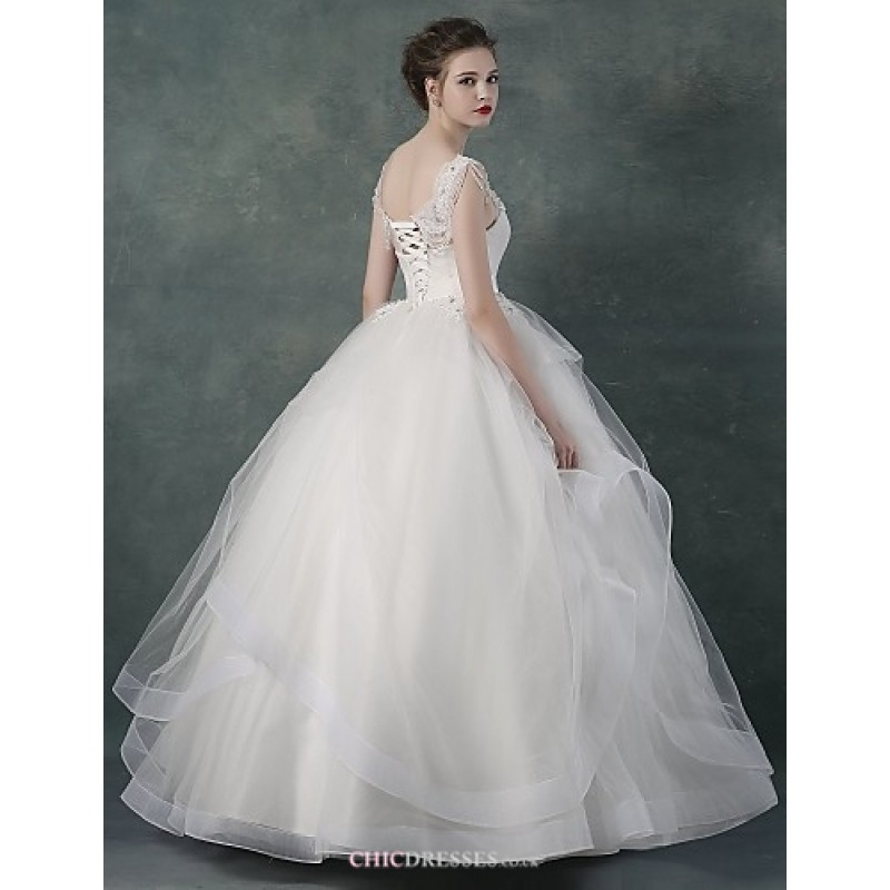 Ball Gown Wedding Dresses Uk: White Floor-length Bateau