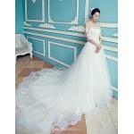 A-line Chapel Train Wedding Dress -Off-the-shoulder Tulle Wedding Dresses
