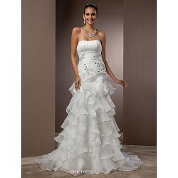 Fit & Flare Plus Sizes Wedding Dress Ivory Court Train Strapless Organza