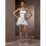 Fit & Flare Plus Sizes Wedding Dress - Ivory Court Train Strapless Organza Wedding Dresses