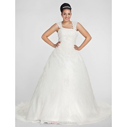 Ball Gown Square Chapel Train Organza Plus Size Wedding Dress