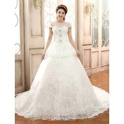 Ball Gown Jewel Lace Chapel Train Wedding Dress