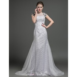 Sheath/Column Wedding Dress - Silver Sweep/Brush Train Jewel Tulle / Lace