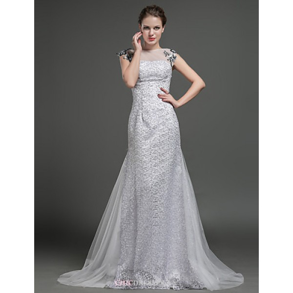 Sheath/Column Wedding Dress - Silver Sweep/Brush Train Jewel Tulle / Lace Wedding Dresses