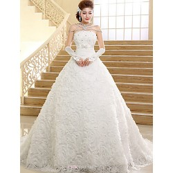 Ball Gown Chapel Train Wedding Dress -Strapless Lace