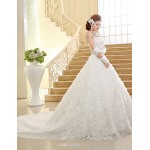 Ball Gown Chapel Train Wedding Dress -Strapless Lace Wedding Dresses