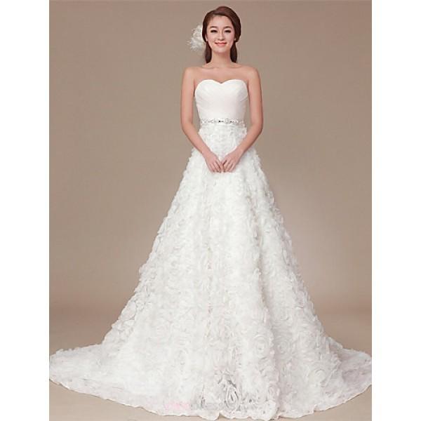 A-line Sweep/Brush Train Wedding Dress -One Shoulder Organza Wedding Dresses