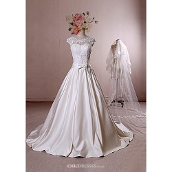 Ball Gown Wedding Dress - Ivory Chapel Train Scoop Lace / Satin / Tulle