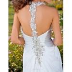 Sheath/Column Plus Sizes Wedding Dress - Ivory Court Train V-neck Chiffon Wedding Dresses