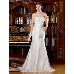 Sheath/Column Wedding Dress - Ivory Sweep/Brush Train Scalloped-Edge Lace