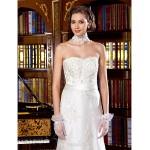 Sheath/Column Wedding Dress - Ivory Sweep/Brush Train Scalloped-Edge Lace Wedding Dresses