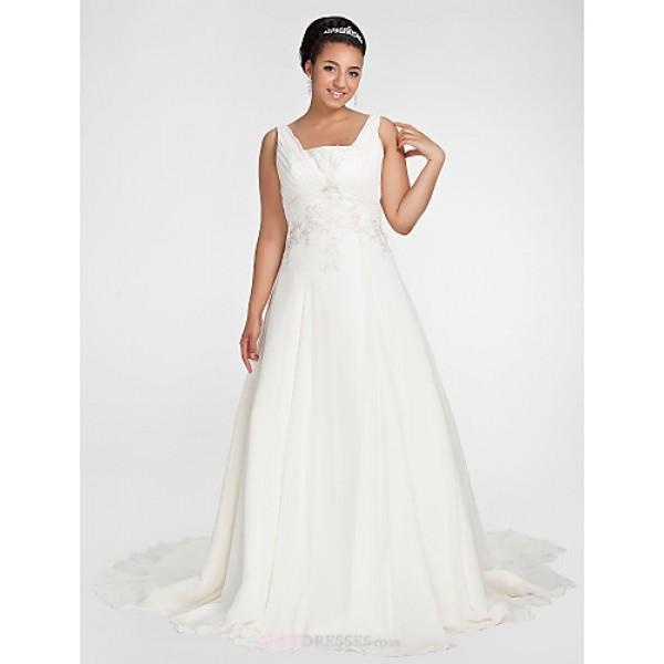 A-line Plus Sizes Wedding Dress - Ivory Chapel Train Square Chiffon Wedding Dresses