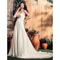 A-line Plus Sizes Wedding Dress - Ivory Court Train Sweetheart Chiffon