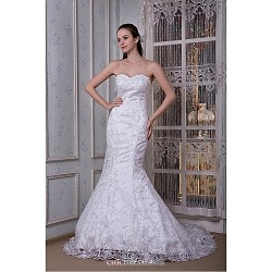 Trumpet/Mermaid Wedding Dress Floor-length Strapless Lace