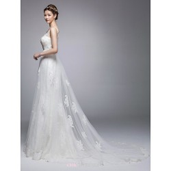 A Line Chapel Train Wedding Dress Jewel,V Neck Tulle