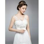 A-line Chapel Train Wedding Dress -Jewel,V-neck Tulle Wedding Dresses