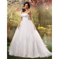 Ball Gown Plus Sizes Wedding Dress White Floor Length Strapless Tulle Lace