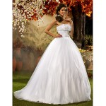 Ball Gown Plus Sizes Wedding Dress - White Floor-length Strapless Tulle/Lace Wedding Dresses