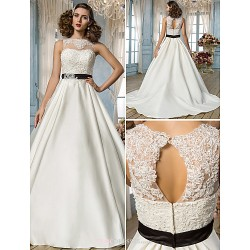A Line Princess Plus Sizes Wedding Dress Ivory Floor Length Jewel Satin Lace