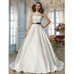 A-line/Princess Plus Sizes Wedding Dress - Ivory Floor-length Jewel Satin/Lace Wedding Dresses