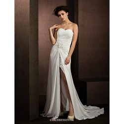 A Line Princess Wedding Dress Ivory Court Train Sweetheart Chiffon