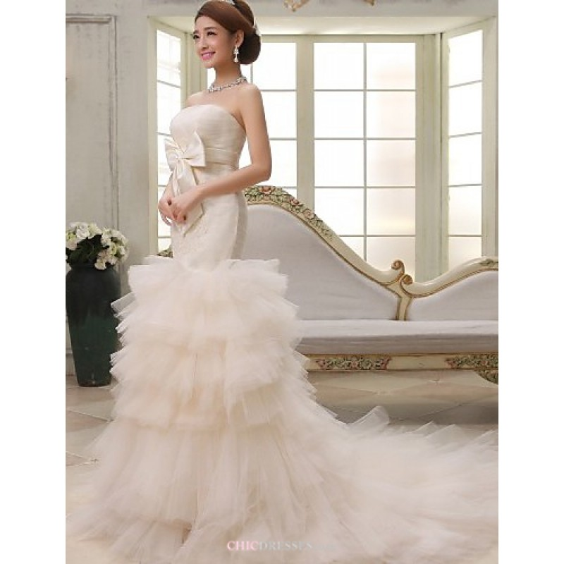 Ball Gowntrumpetmermaid Court Train Wedding Dress Strapless