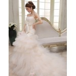 Ball Gown,Trumpet/Mermaid Court Train Wedding Dress -Strapless Organza Wedding Dresses