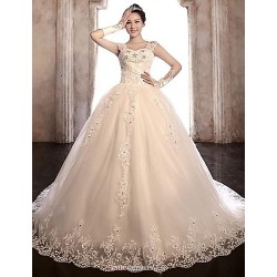 Ball Gown Wedding Dress Chapel Train Straps Tulle Stretch Satin