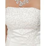 A-line/Princess Plus Sizes Wedding Dress - White Chapel Train Strapless Satin Wedding Dresses