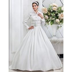 A-line/Princess Plus Sizes Wedding Dress - Ivory Floor-length Spaghetti Straps Taffeta