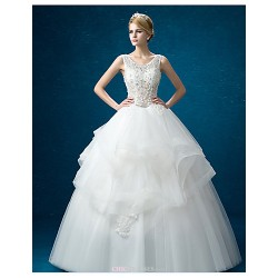 A-line Wedding Dress - White Floor-length Jewel Organza / Satin