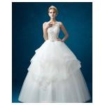 A-line Wedding Dress - White Floor-length Jewel Organza / Satin Wedding Dresses