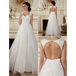 A Line Princess Wedding Dress Ivory Floor Length Straps Organza