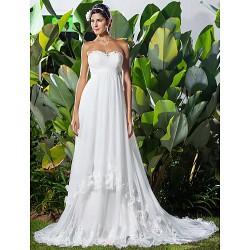 A Line Princess Plus Sizes Wedding Dress Ivory Chapel Train Sweetheart Chiffon