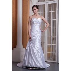 Trumpet Mermaid Wedding Dress Ivory Floor Length Sweetheart Stretch Satin